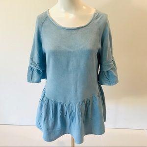 Style Envy Blue Short Sleeve Ruffle Top
